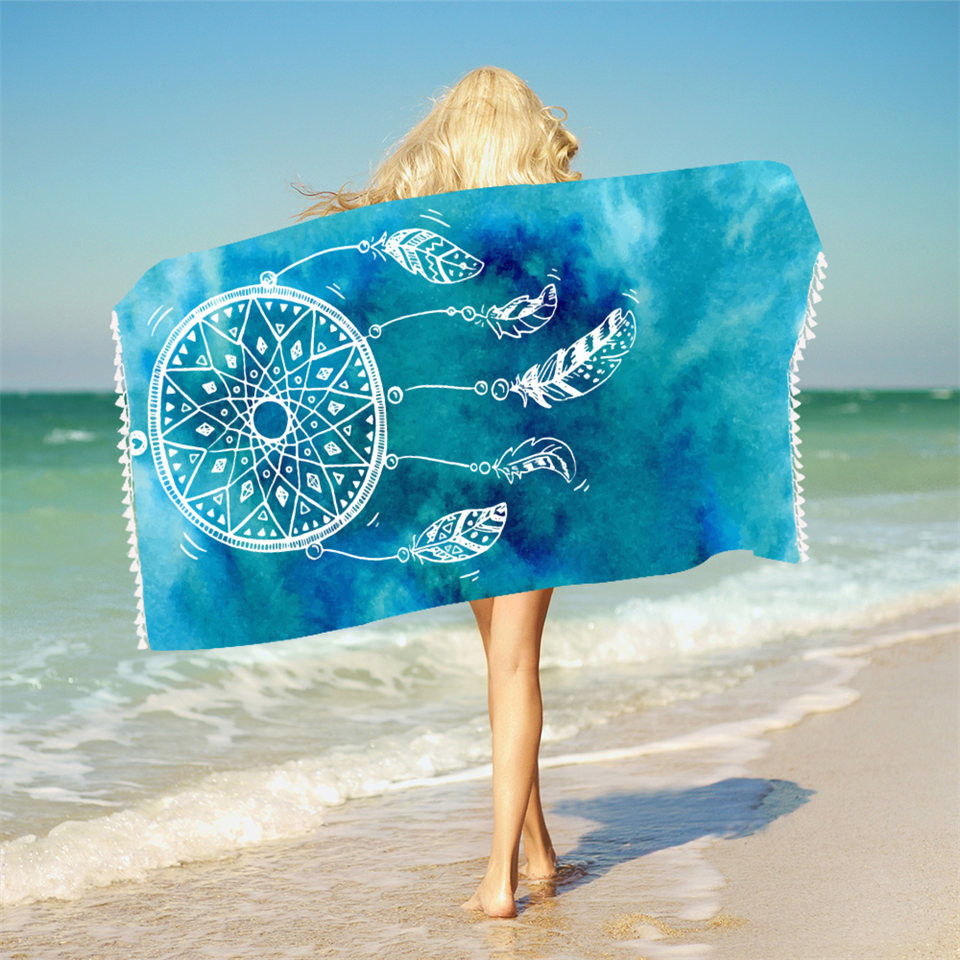 Printed Bath Towel With Tassels Microfiber Beach Towel